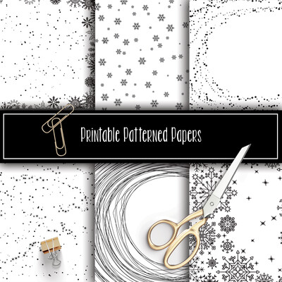 Winter Printable Patterned Papers Collection FOIL READY