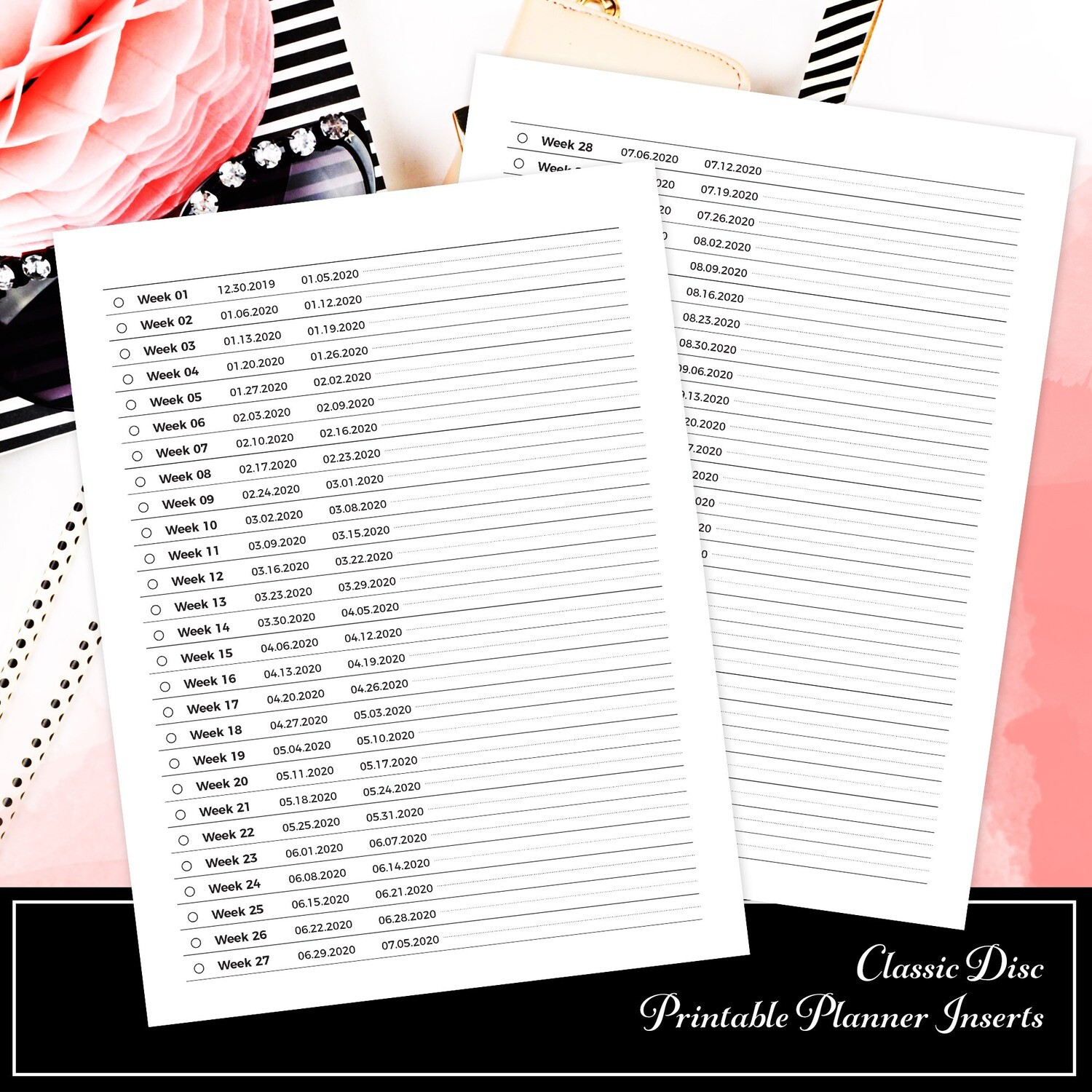 CLASSIC - 2020 Weekly Dated Tracker Printable Planner Insert