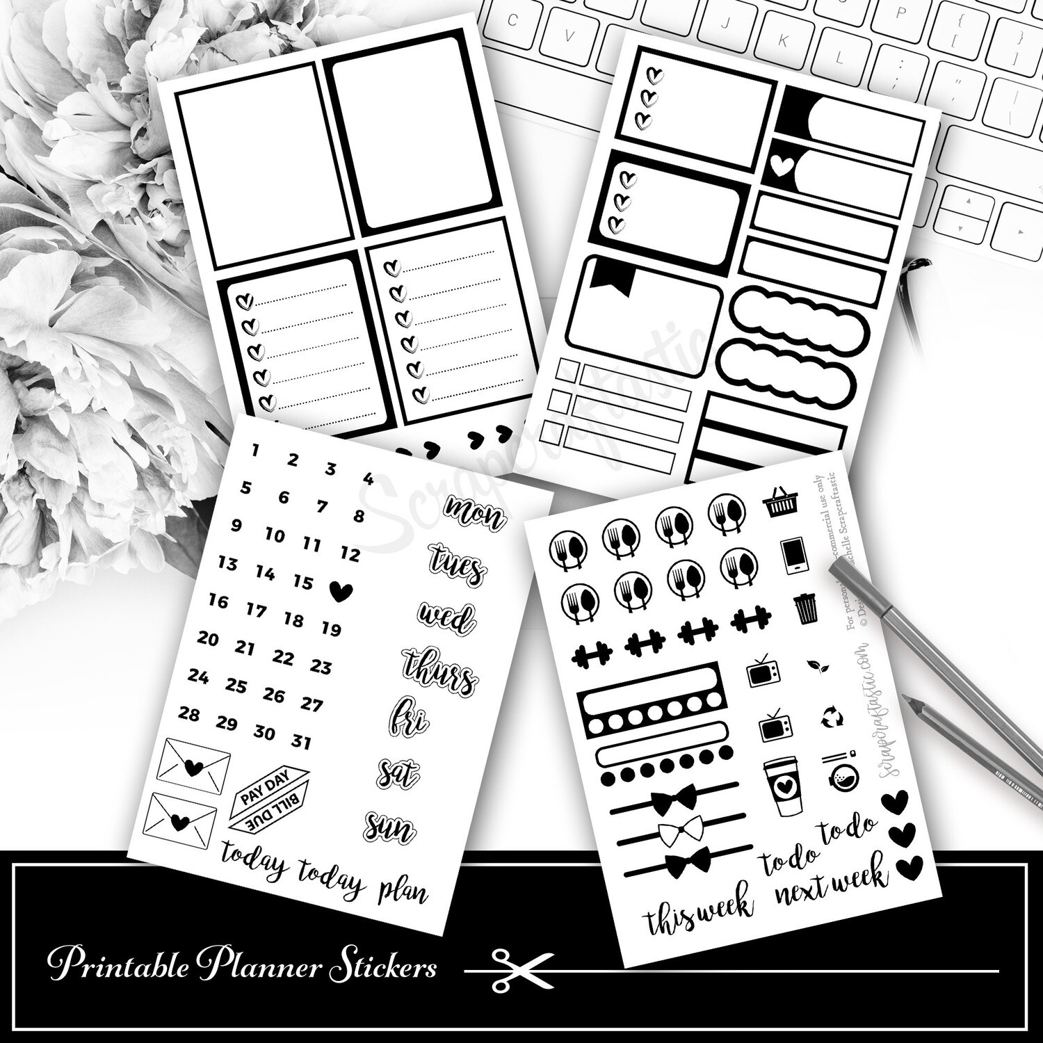 FOIL READY Mini Kit Printable Planner Stickers for Digital Cutting