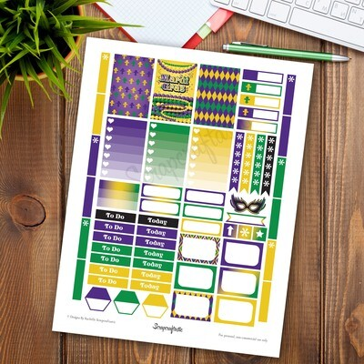 Mardi Gras Printable Planner Stickers