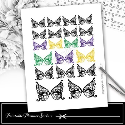 Mardi Gras Mask Deco Printable