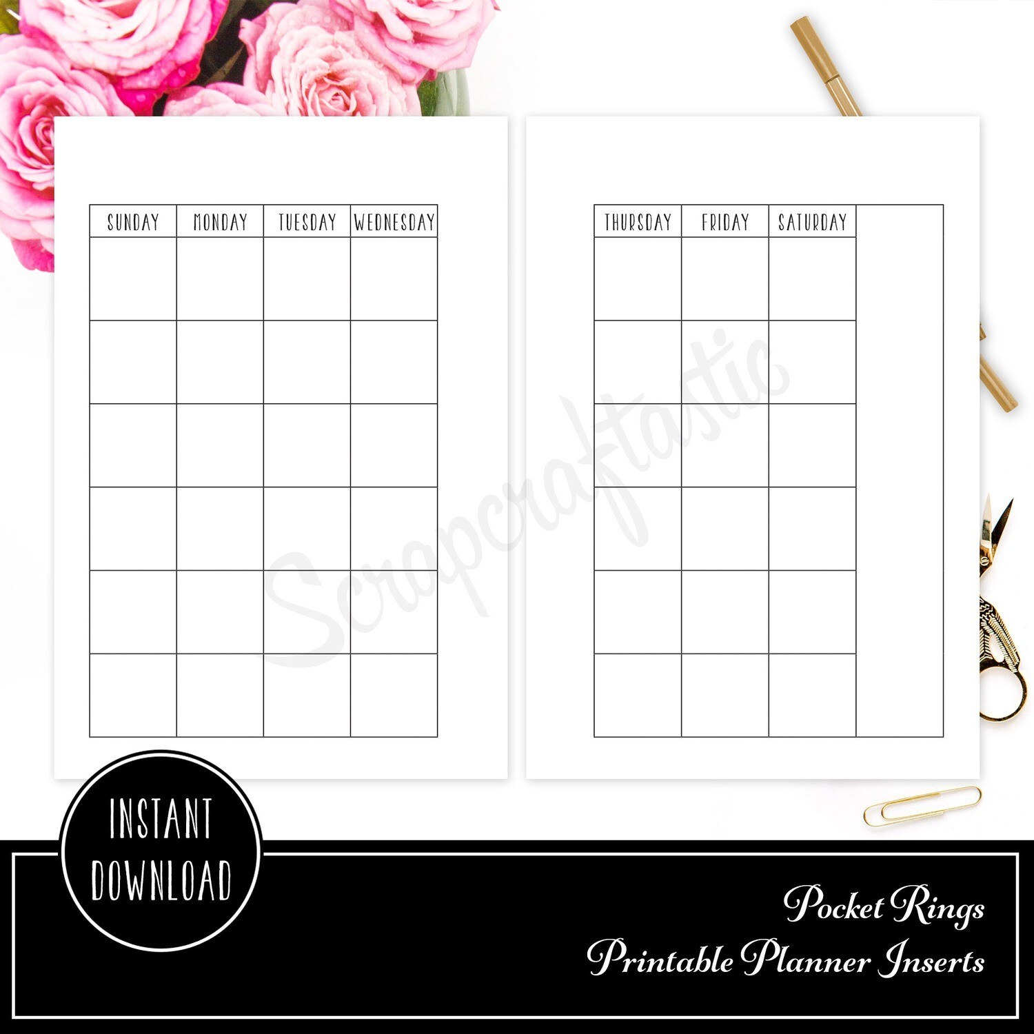 POCKET RINGS - Undated Month on Two Pages MO2P Ring Binder Printable Insert