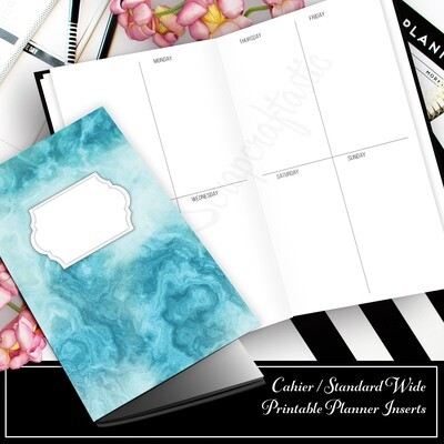 CAHIER - Basic Week On Two Pages (WO2P) Traveler's Notebook Printable Planner Inserts