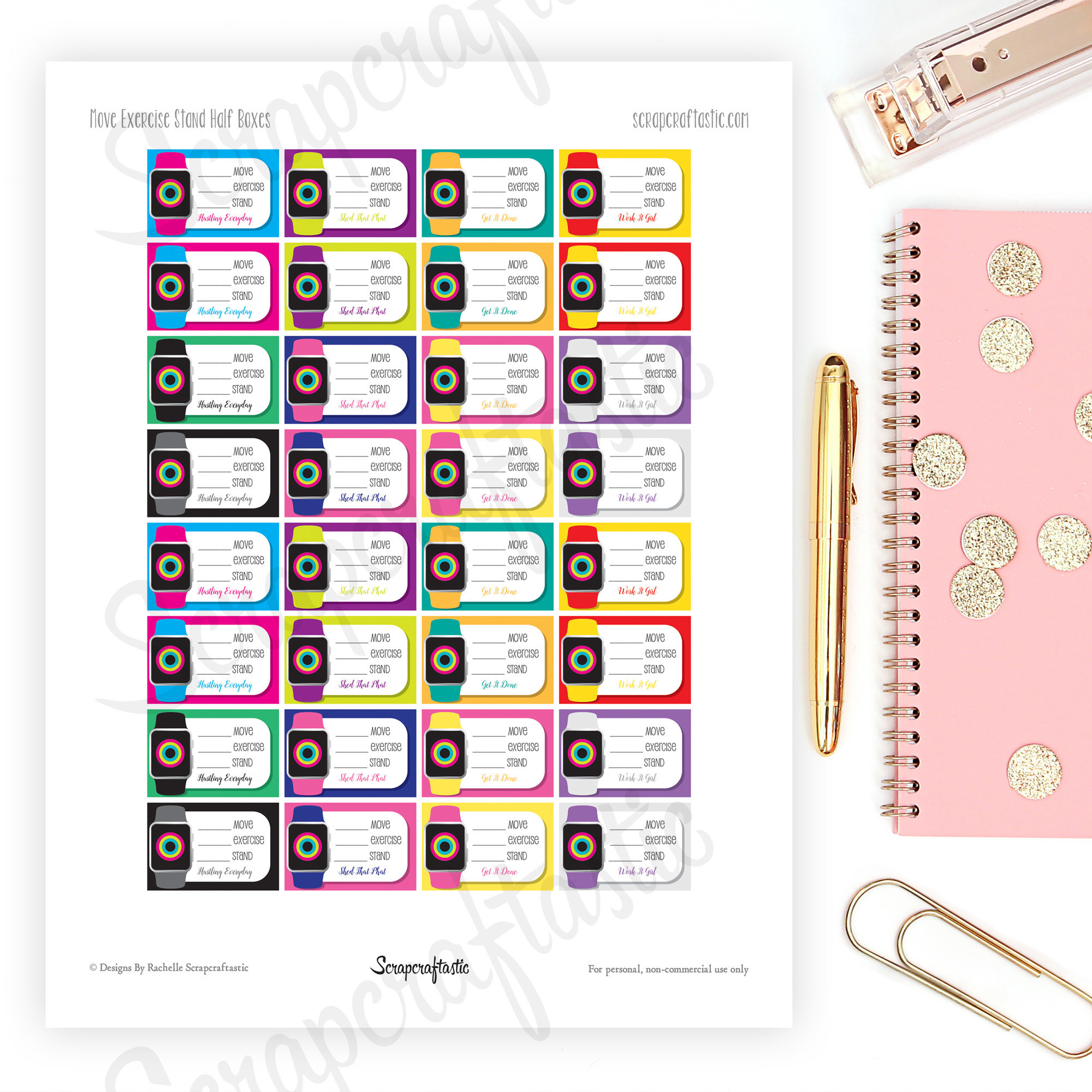 Fitness Watch Half Box Printable Planner Stickers dbr_fitnesswatches