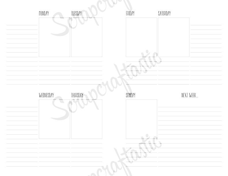 Half Page WO2P Lined Printable Planner Inserts