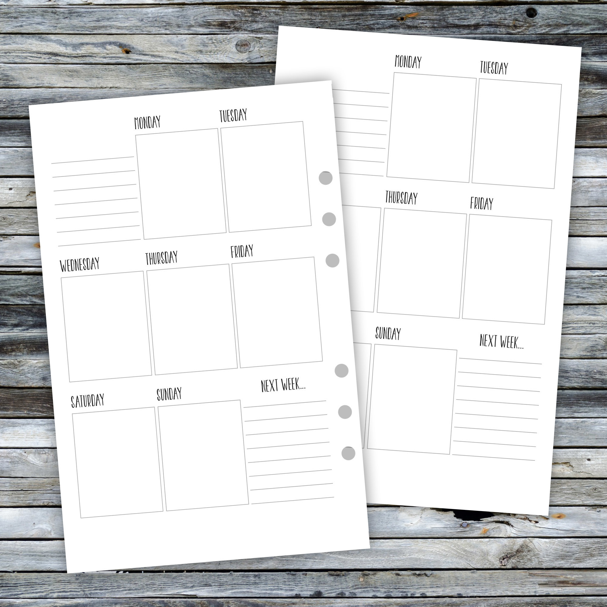 Half Page WO1P Printable Planner Inserts HPWO1PEC