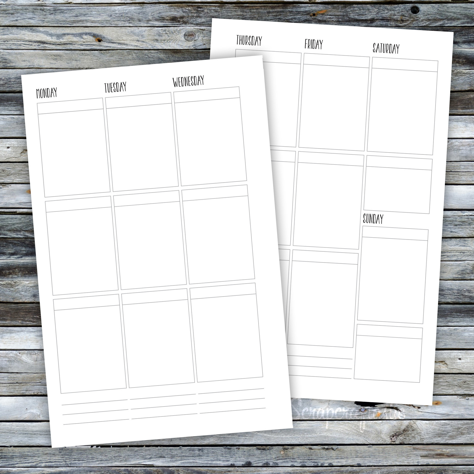 Half Page WO2P Printable Planner Inserts HPWO2PEC3