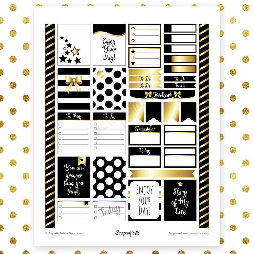 All Black Pro Printable Planner Stickers for Erin Condren (EC) Life Planner 00054
