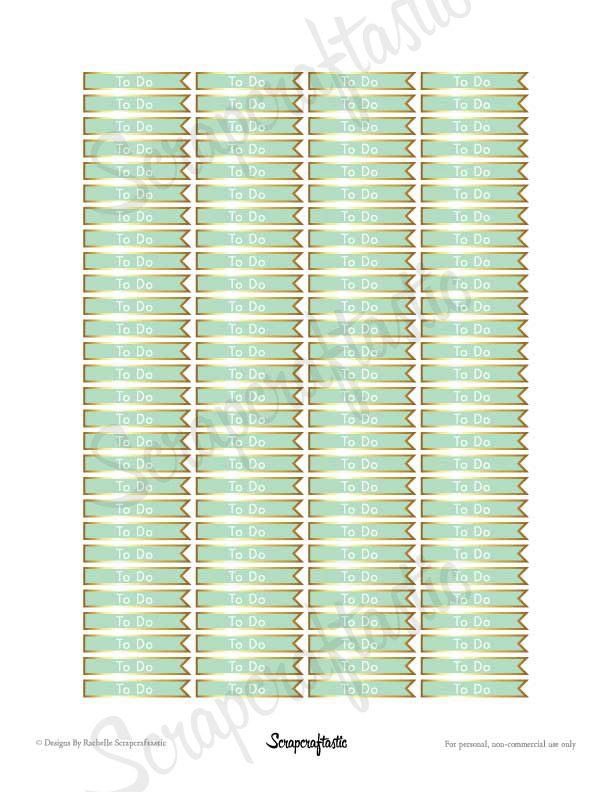All Pro Mint & Gold To Do Flag Header Banner Printable Planner Stickers for any Planner