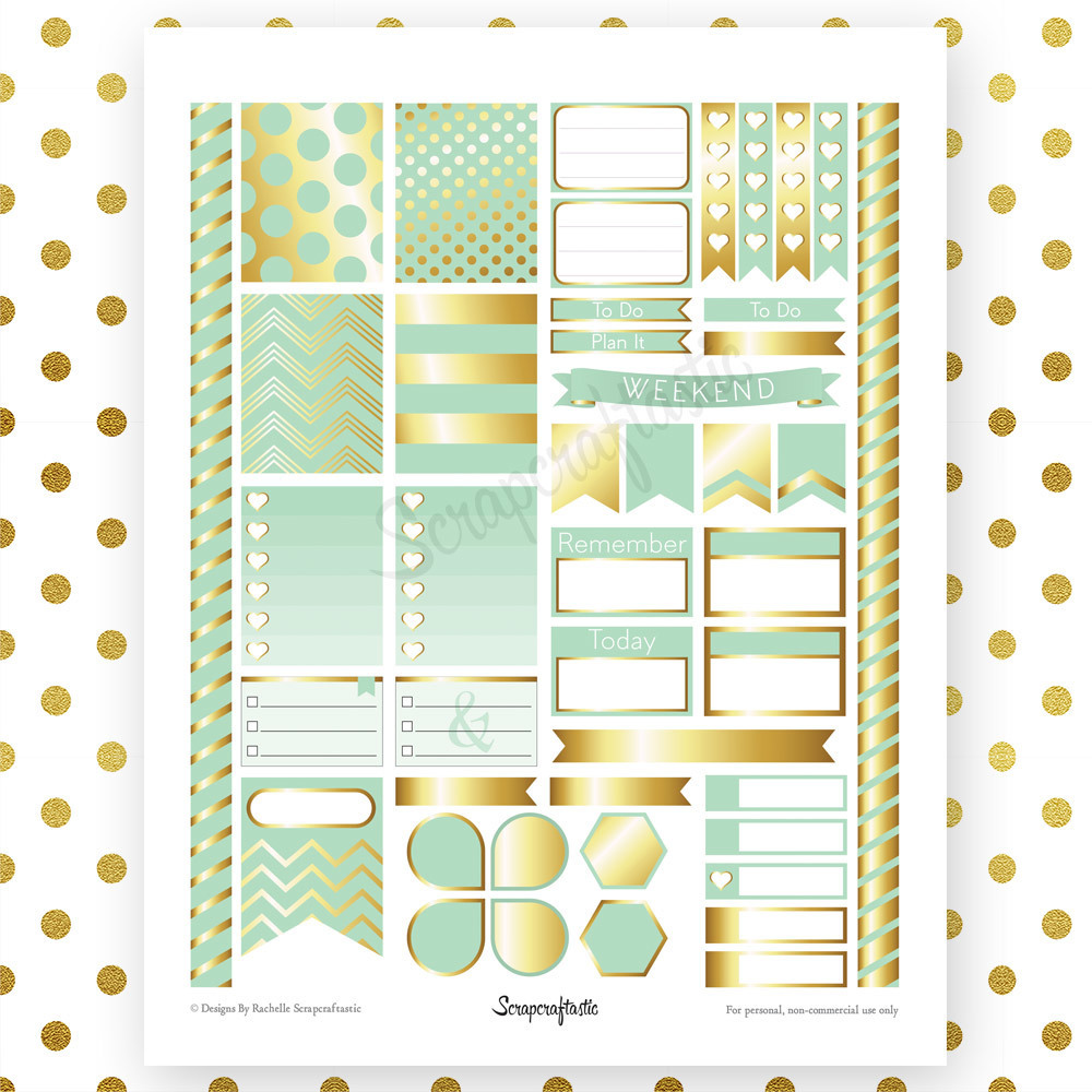Mint & Gold Printable Planner Stickers for Erin Condren Life Planner 00028