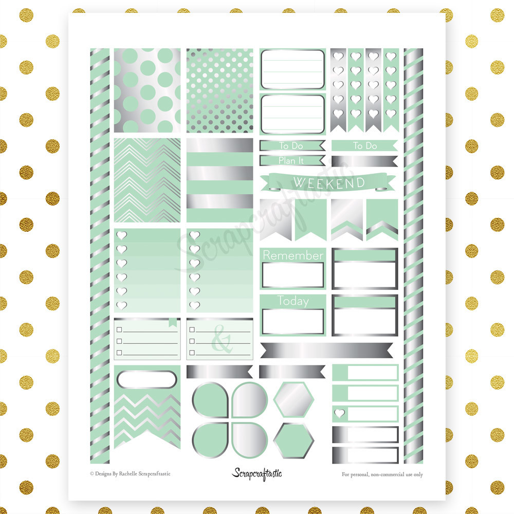 All Mint Silver Pro Printable Planner Stickers for Erin Condren Life Planner (ECLP) 00106