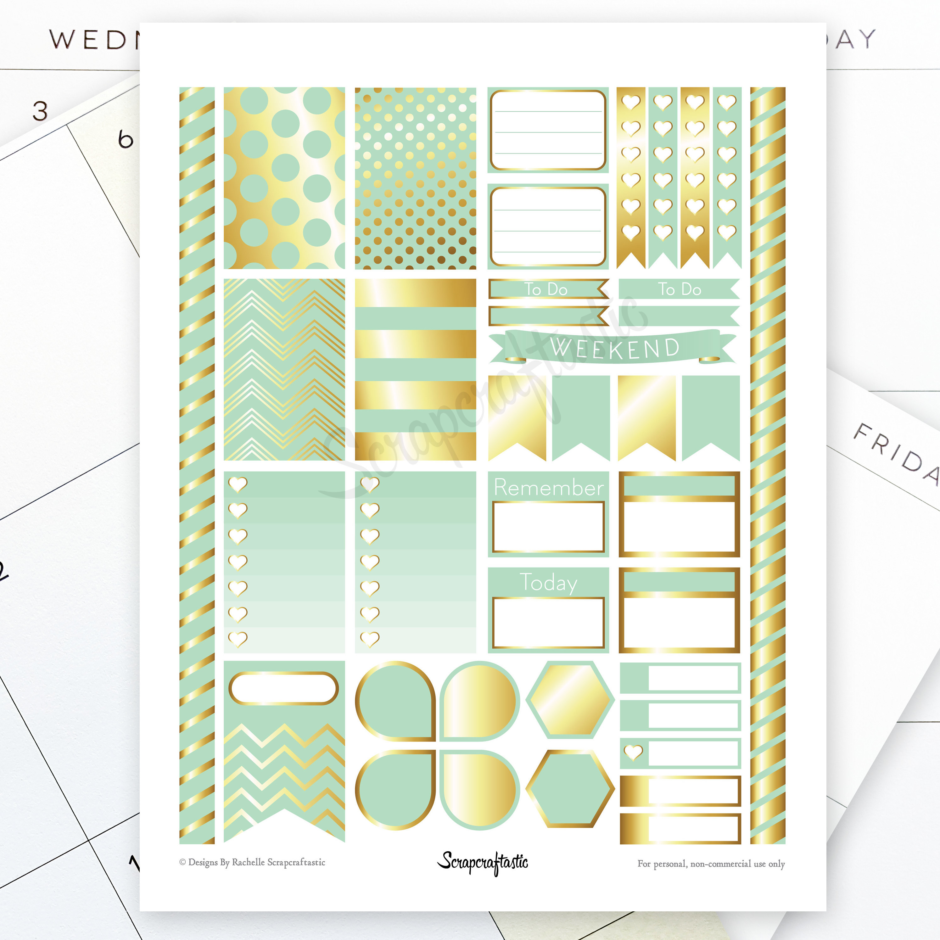 Mint & Gold Printable Planner Stickers for MAMBI Happy Planner 00005