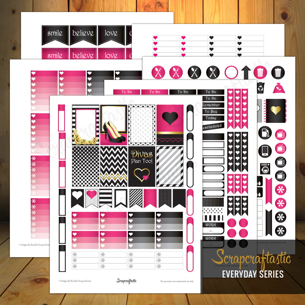 Diva Faves Everyday Series Printable Planner Stickers for the Classic MAMBI Happy Planner 00064