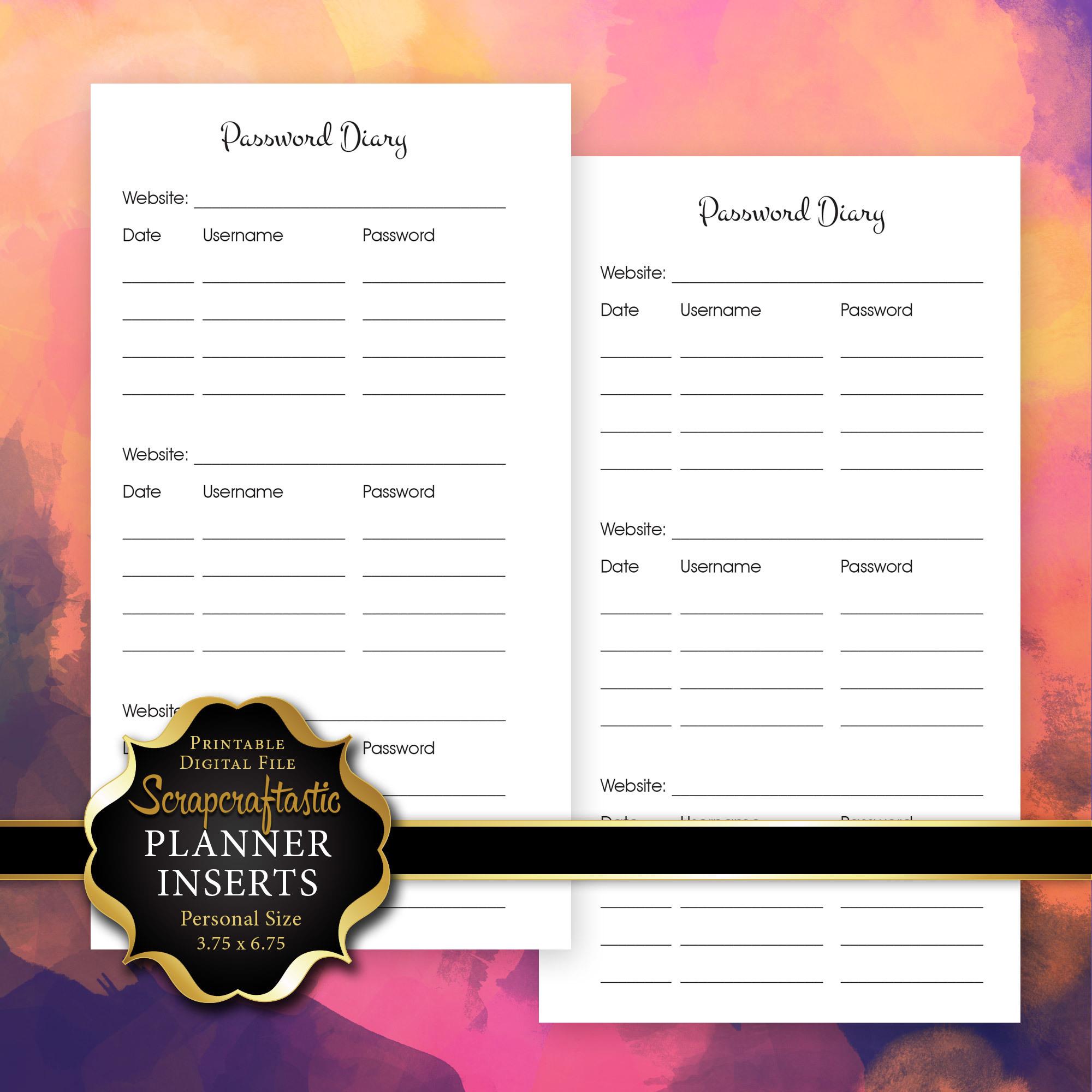 Password Diary Planner Insert | Personal Size Planner Filofax Kikki K ColorCrush 00227