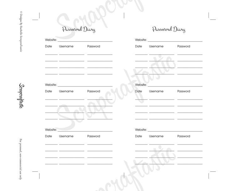 Password Diary Planner Insert | Personal Size Planner Filofax Kikki K ColorCrush