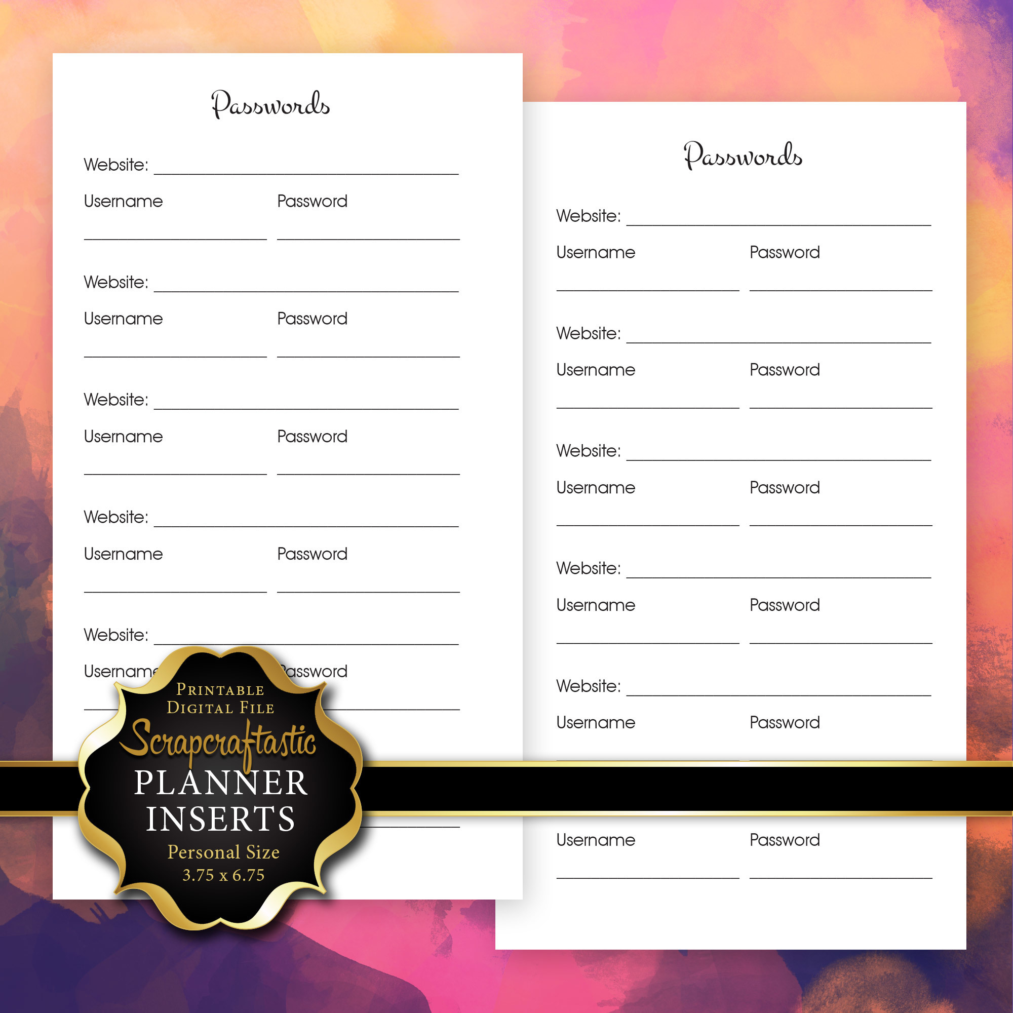 Password Log Planner Insert | Personal Size Planner Filofax Kikki K ColorCrush 00232