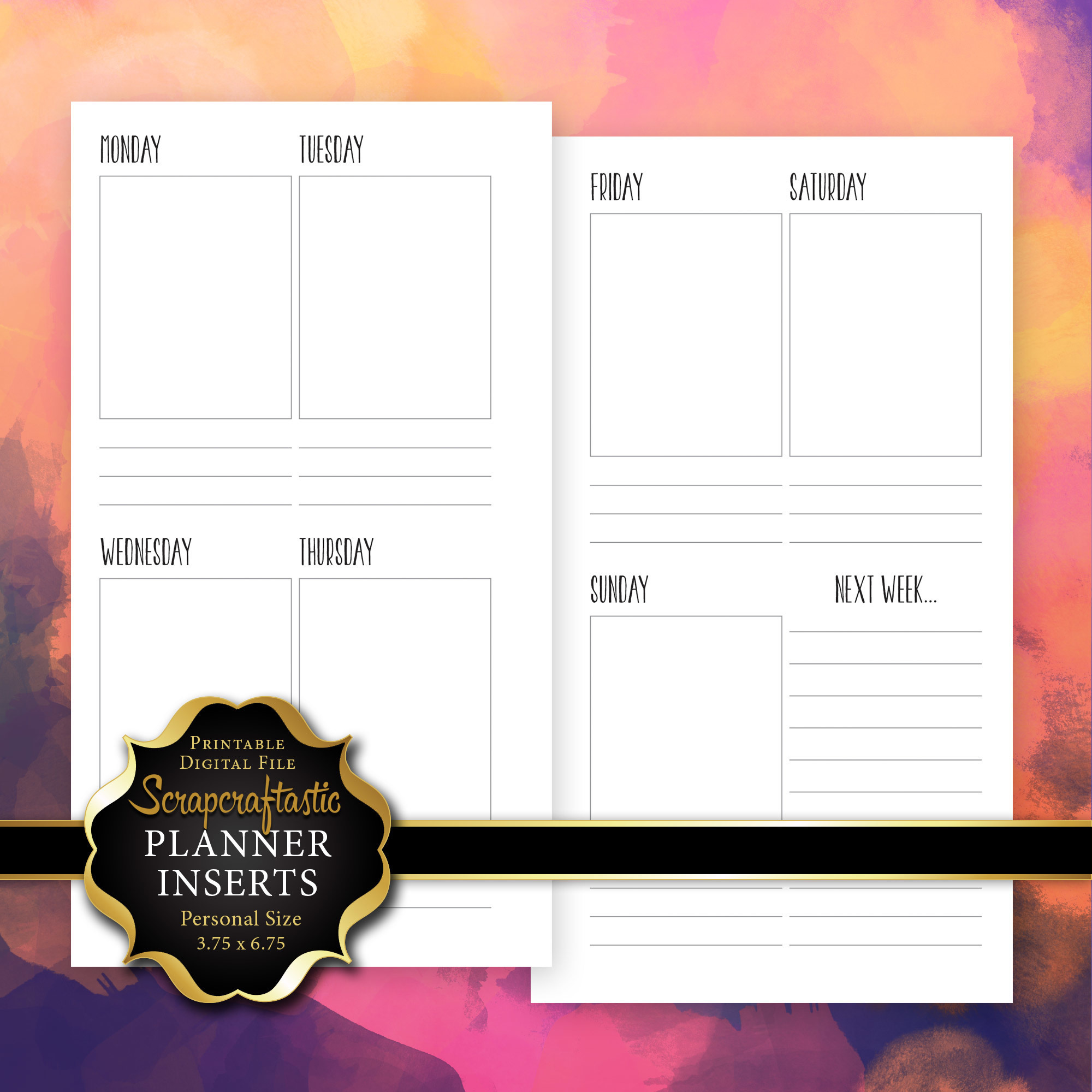 Planner Printable Insert Refill Undated WO2P Personal Size - Filofax Kikki K ColorCrush Erin Condren Size Full Boxes & Next Week 00234