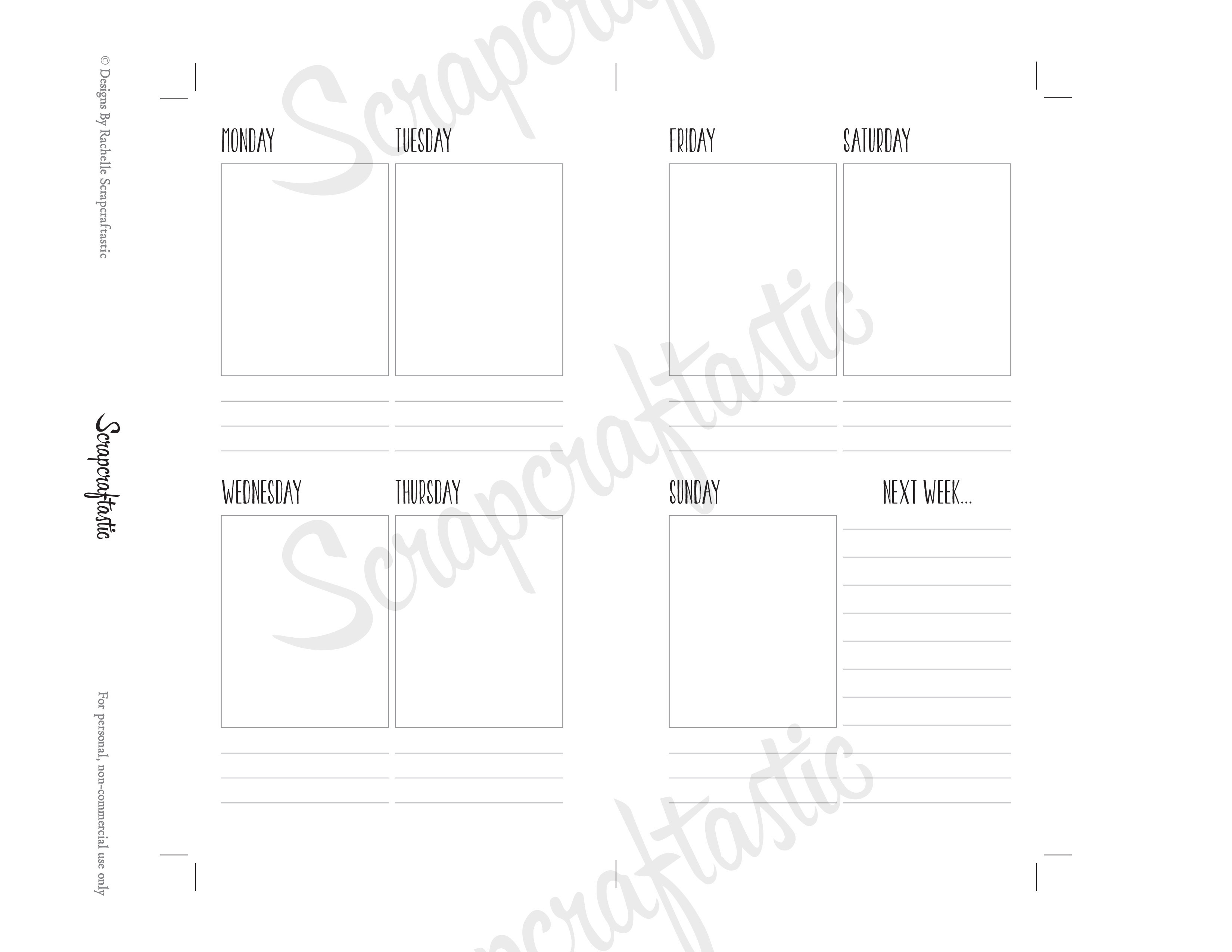 Planner Printable Insert Refill Undated WO2P Personal Size - Filofax Kikki K ColorCrush Erin Condren Size Full Boxes & Next Week
