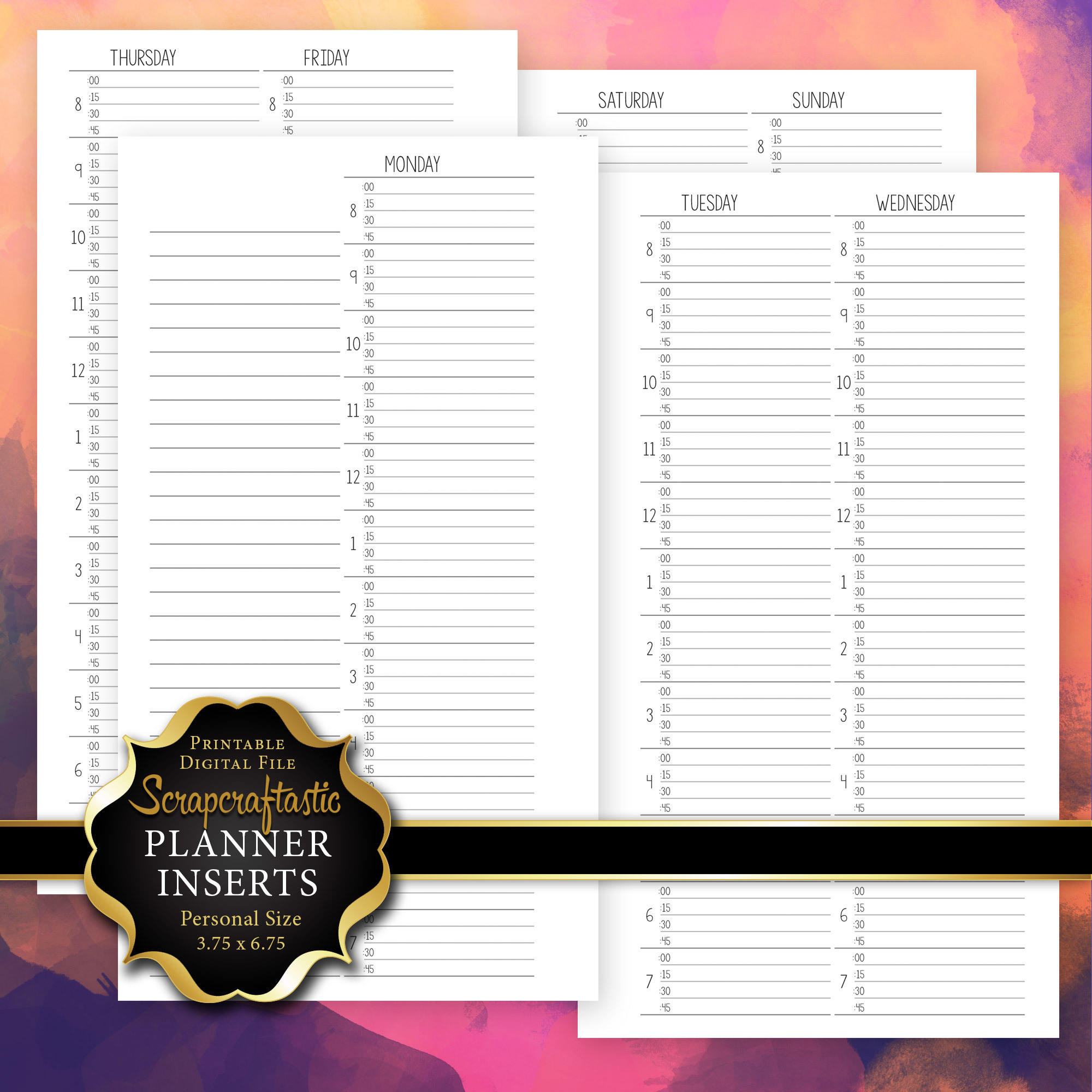 WO4P Quarter Hour Personal Printable Planner Insert 00226