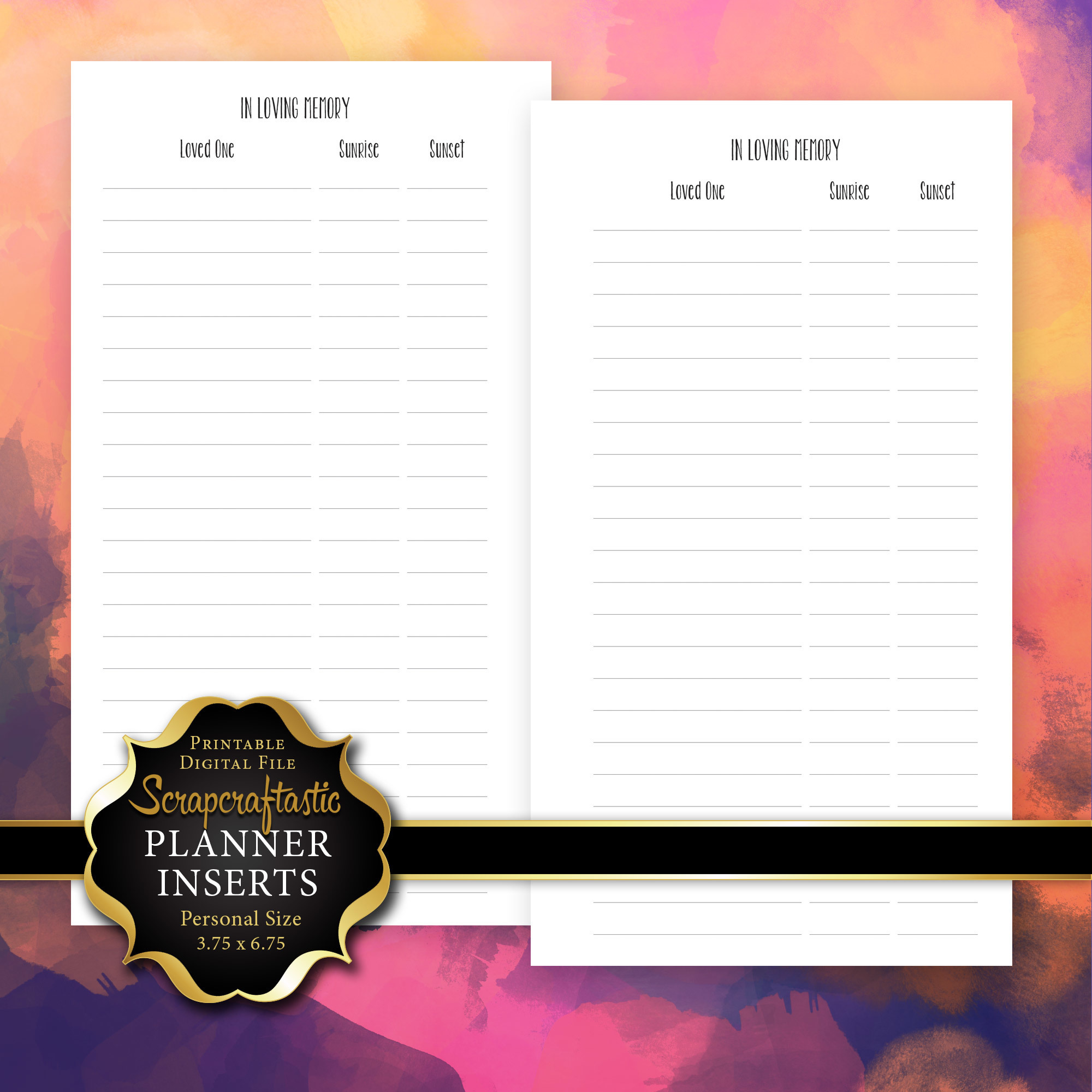 In Loving Memory Personal Size Printable Planner Inserts 00237