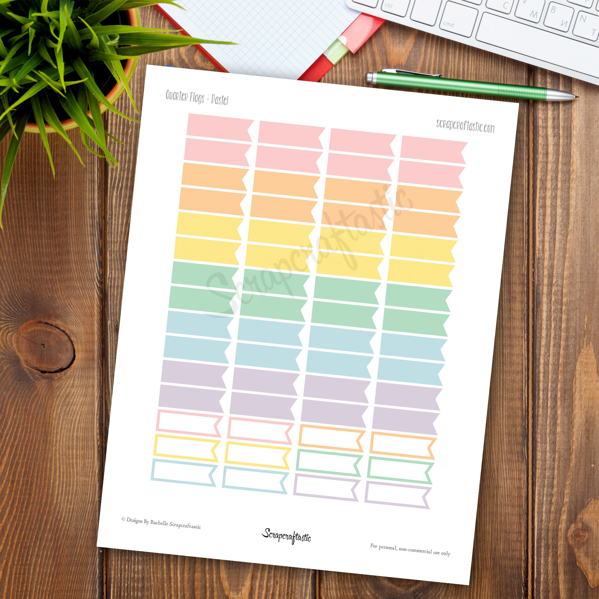 Pastel Flags Printable Planner Stickers for paper Planners and Organizers dbr_flagsqtr_pastel