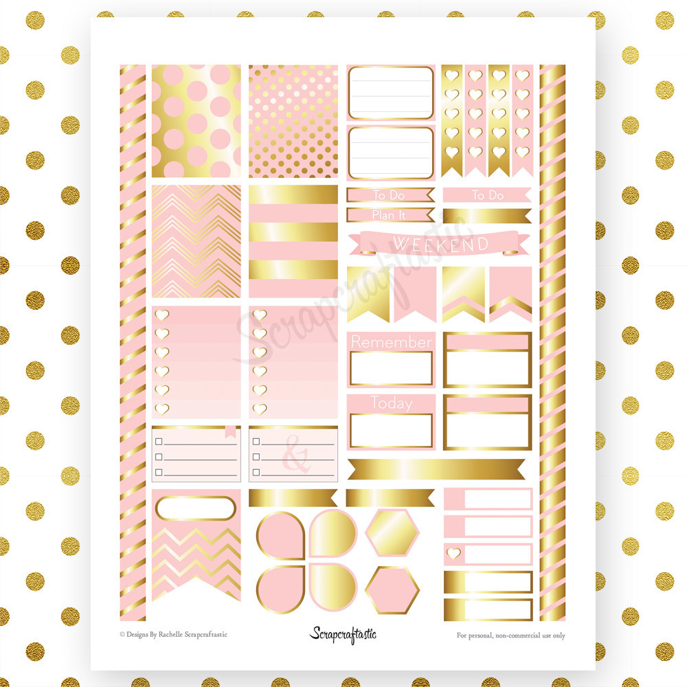 Lite Pink & Gold Printable Planner Stickers for Erin Condren Life Planner 00011