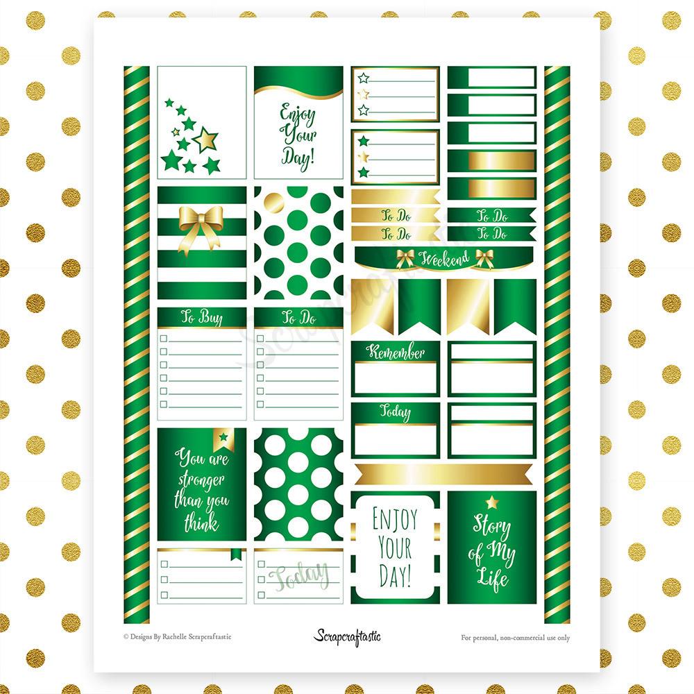 All Green Pro Printable Planner Stickers for Erin Condren (EC) Life Planner 00038