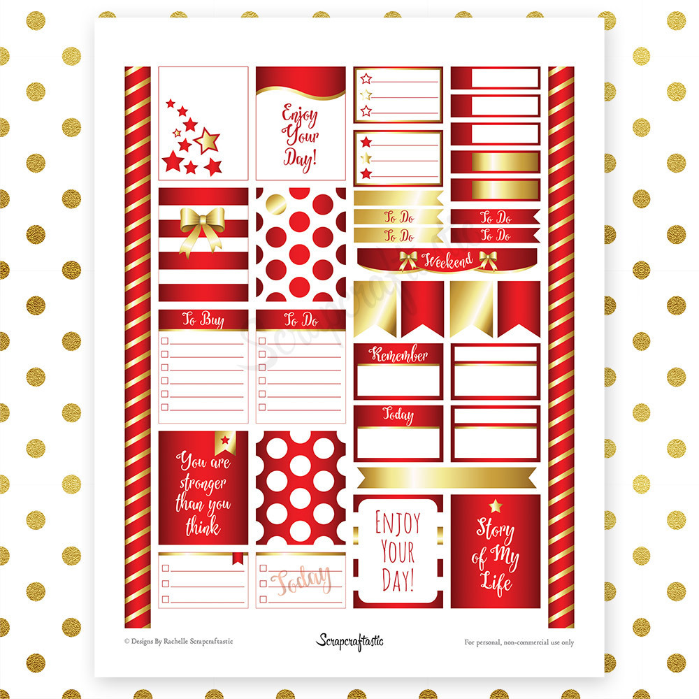 All Crimson Pro Printable Planner Stickers for Erin Condren (EC) Life Planner 00098