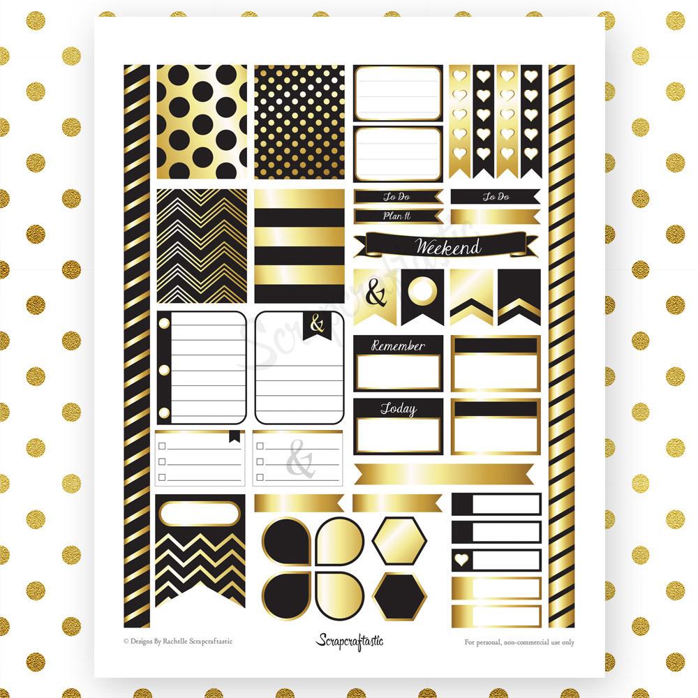 Onyx & Gold Printable Planner Stickers for Erin Condren Life Planner 00051