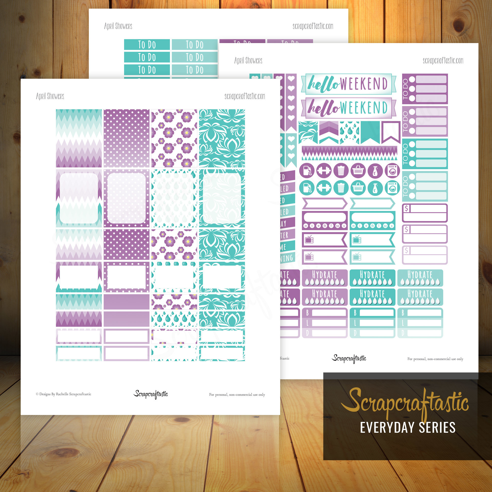 April Showers Printable Planner Stickers for Erin Condren Planner dbr_april_2016