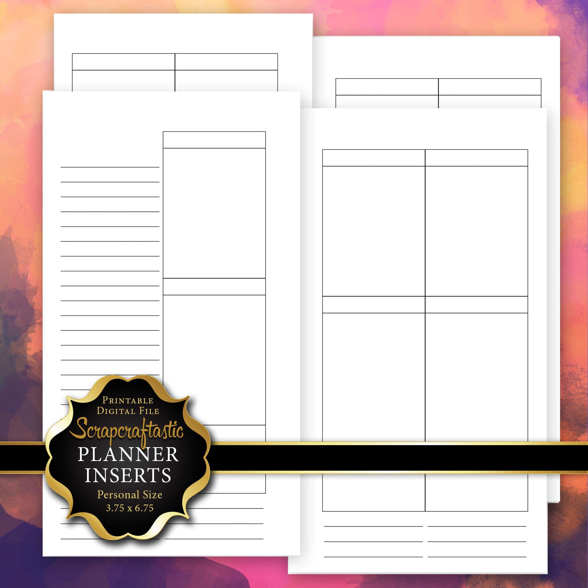 Planner Printable Insert Refill Blank Undated No Days WO4P Personal Size Filofax KikkiK Erin Condren Size Full Boxes & Half Boxes 00231