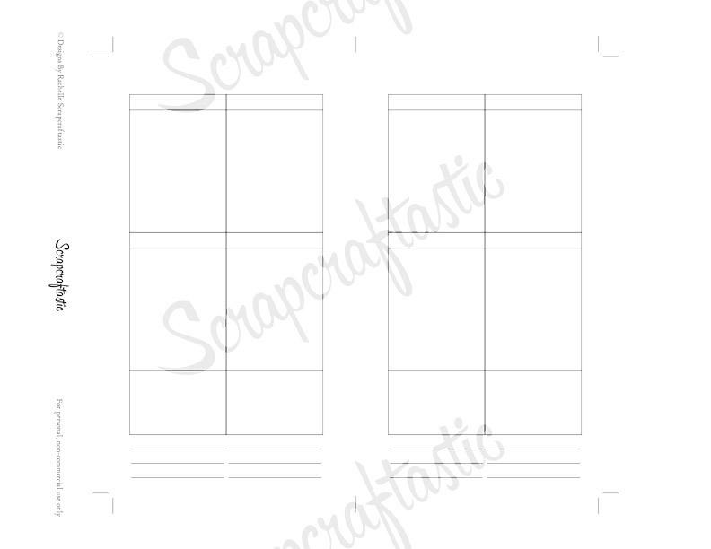 Planner Printable Insert Refill Blank Undated No Days WO4P Personal Size Filofax KikkiK Erin Condren Size Full Boxes & Half Boxes