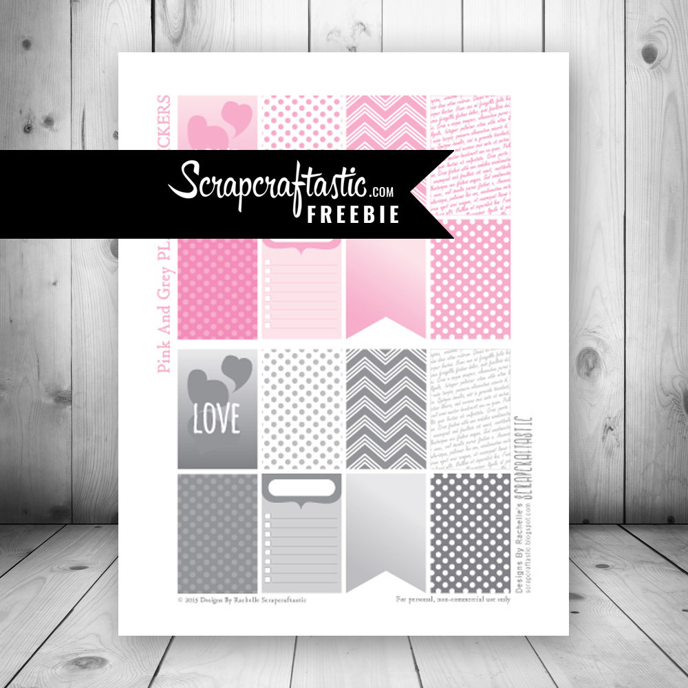 Love Pink & Grey FREE Printable Planner Stickers