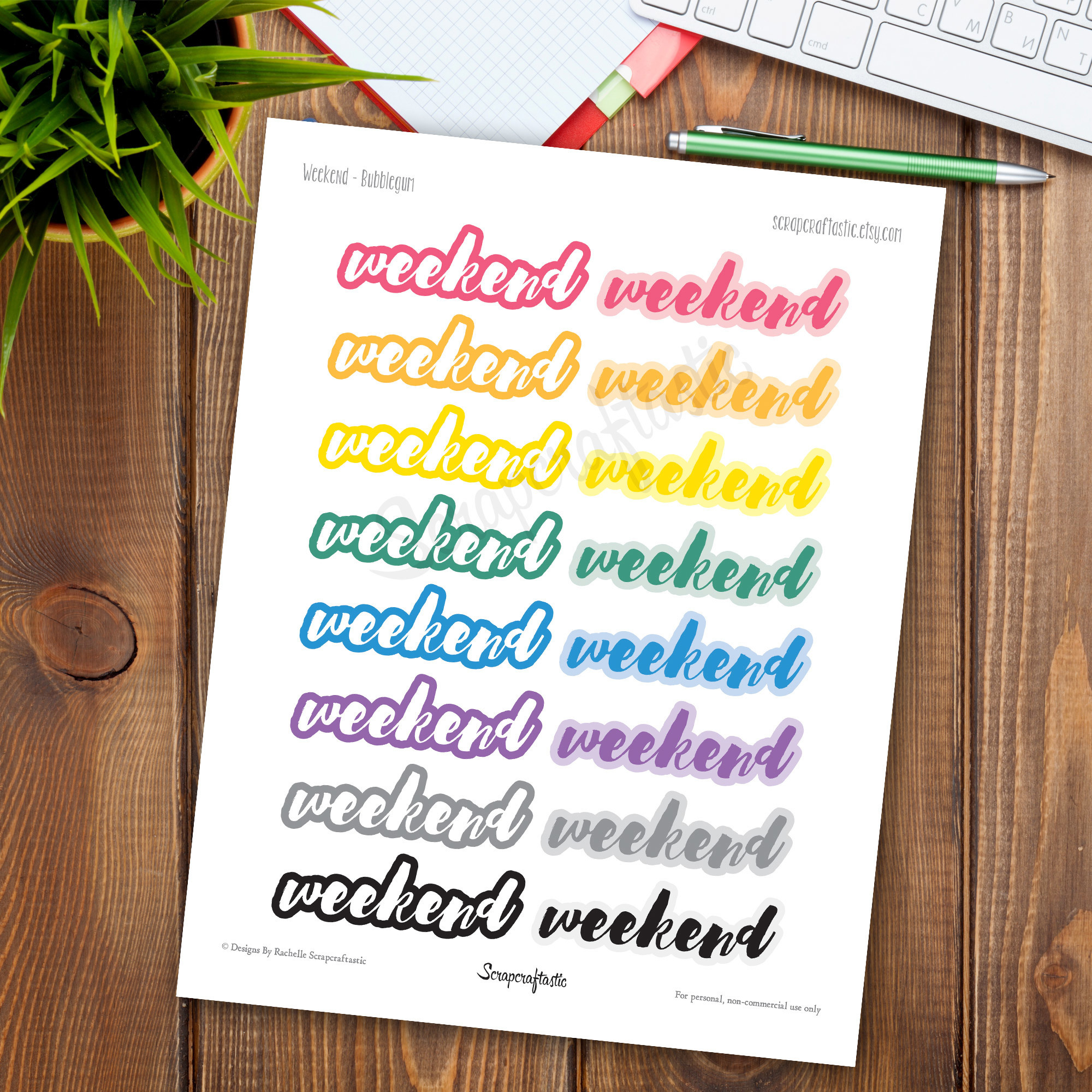 Bubble Gum Weekend Printable Planner Stickers 00190