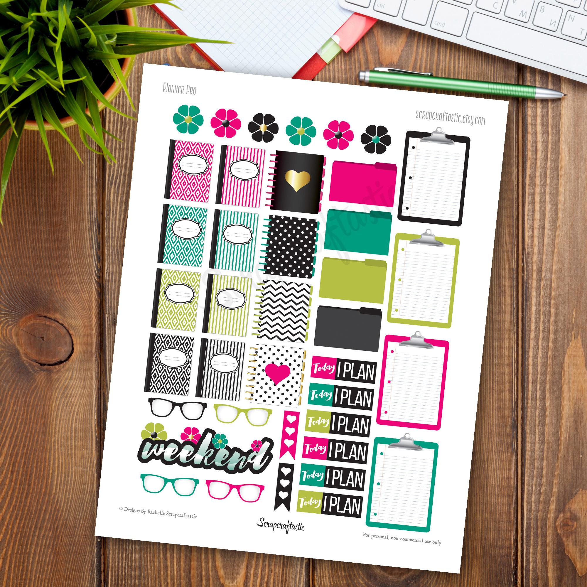 Planner Pro Printable Planner Stickers dbr_plannerpro