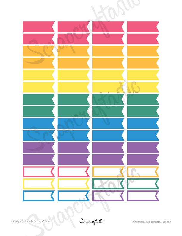 Bubble Gum Flags Printable Planner Stickers for paper Planners and Organizers