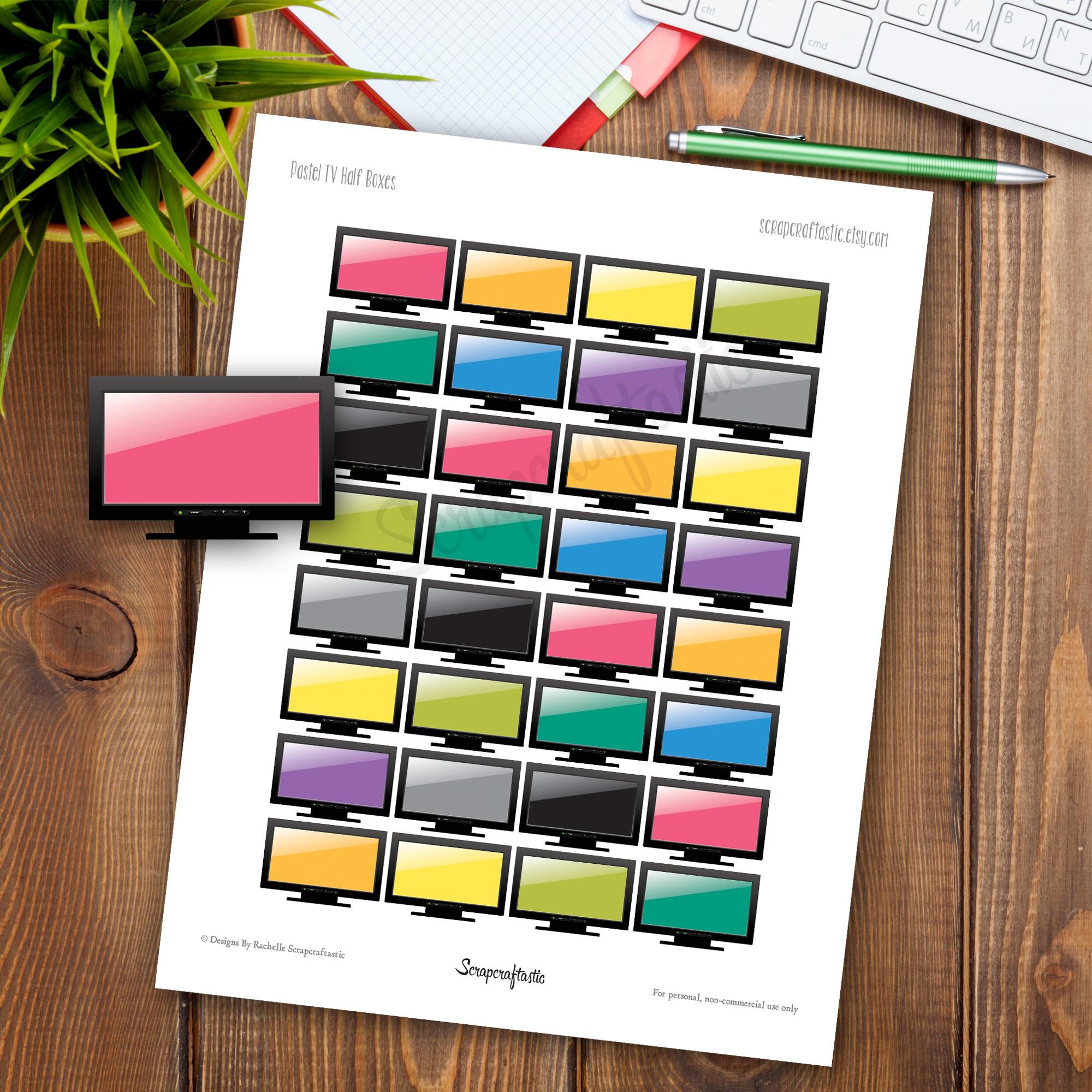 TV Half Box Printable Planner Stickers for any Planner | Mambi Happy Planner, Erin Condren, Kikki-K, Filofax, ColorCrush, Carpe Diem 00044
