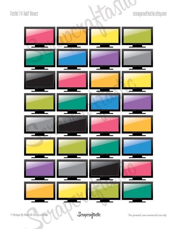 TV Half Box Printable Planner Stickers for any Planner | Mambi Happy Planner, Erin Condren, Kikki-K, Filofax, ColorCrush, Carpe Diem