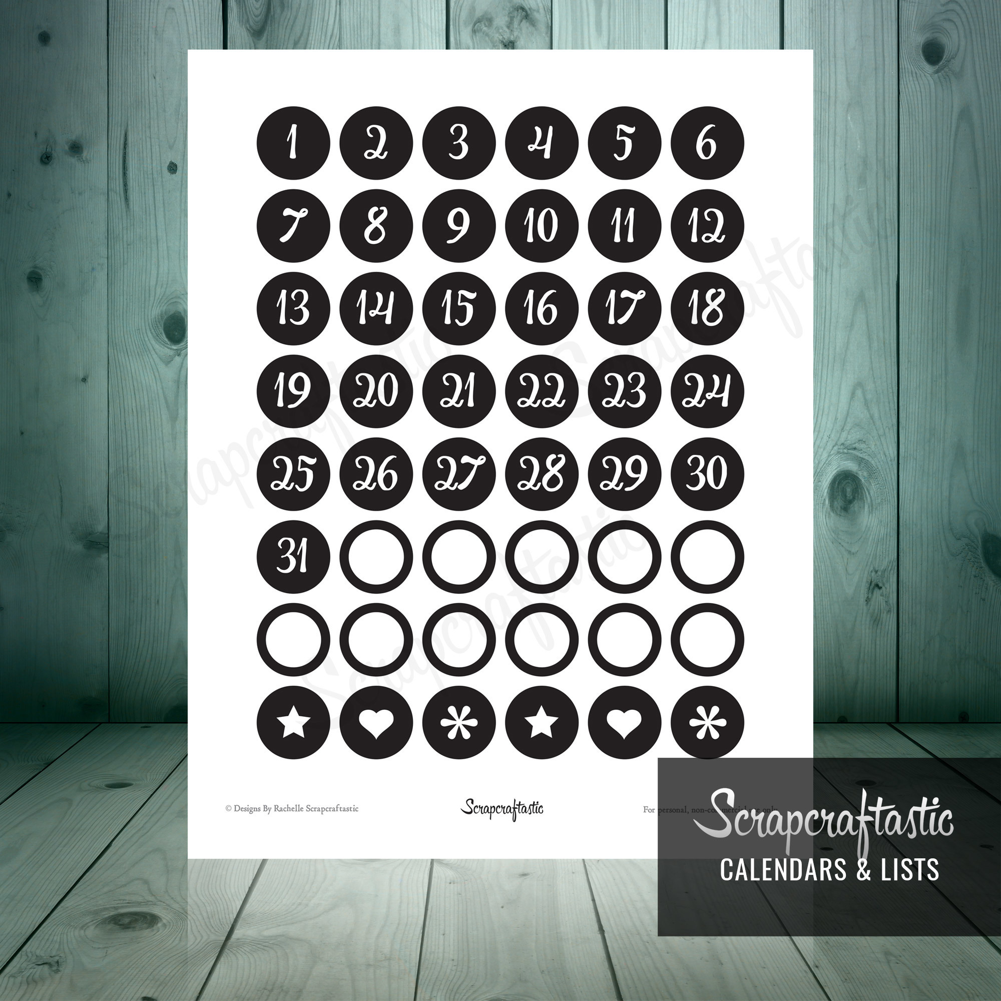 Planner Pro Black DIY Calendar, List and Monthly Challenge Numbered Printable Planner Stickers for paper planners, binders, inserts 00015