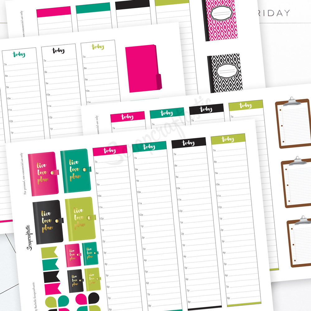 Planner Pro Live Love Plan Daily Schedule Printable Planner Stickers for MAMBI Happy Planner 00003