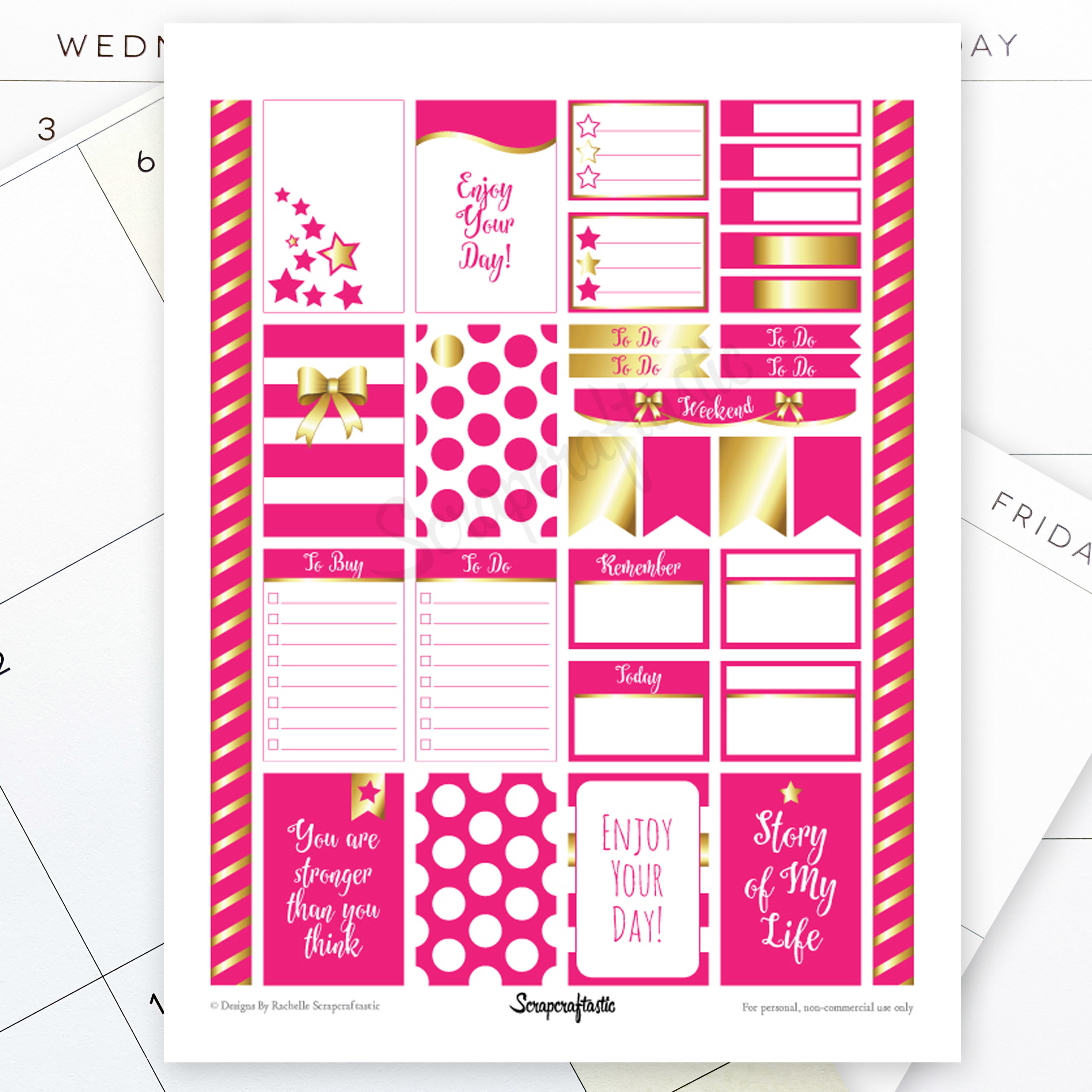 All Hot Pink Pro Printable Planner Stickers for Classic MAMBI Happy Planner 00004