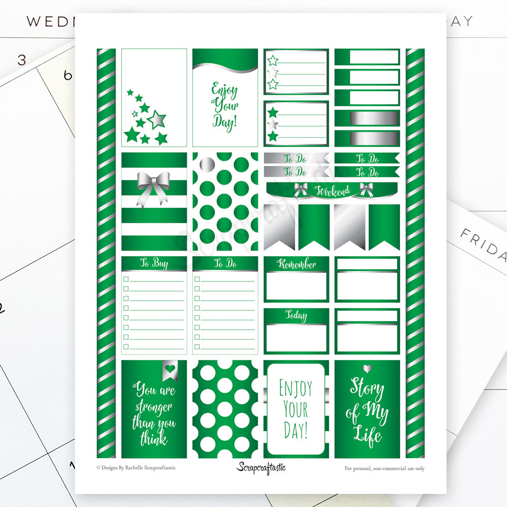 All Pro Green and Silver Printable Planner Stickers for the Classic MAMBI Happy Planner 00000