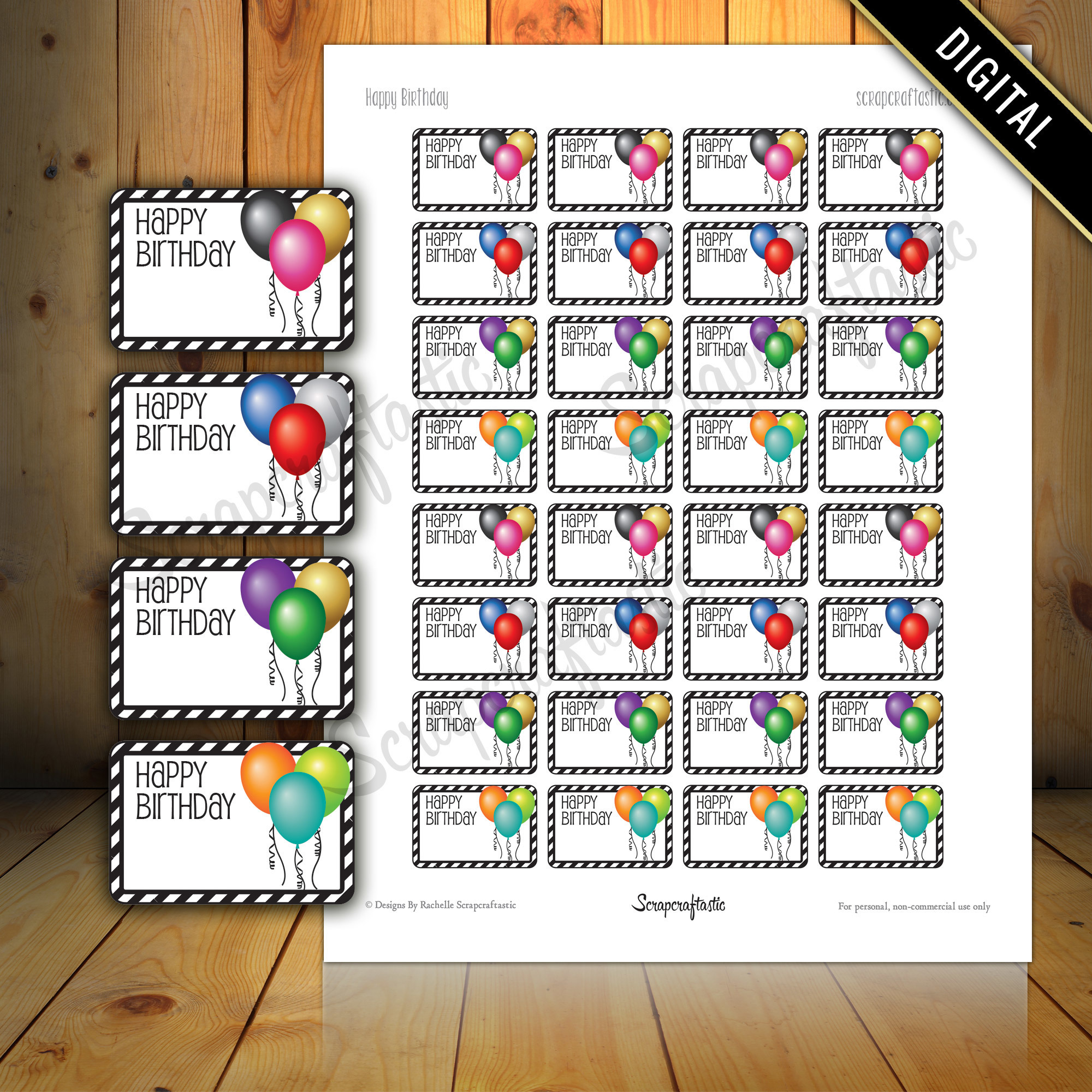 Happy Birthday Balloon Half Box Printable Planner Stickers for Paper Planners, Agendas and Organizers | Mambi  Happy Planne, Erin Condren 00010