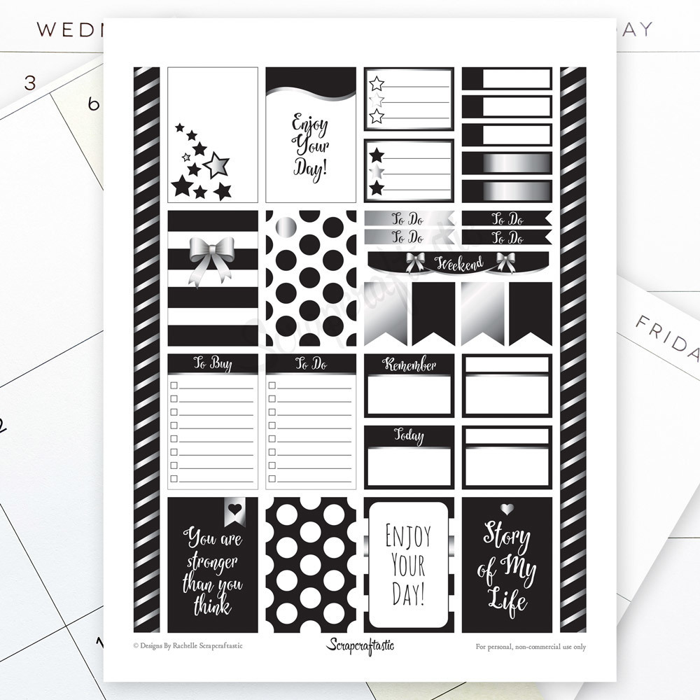 All Black Silver Pro Printable Planner Stickers for the Classic MAMBI Happy Planner 00014