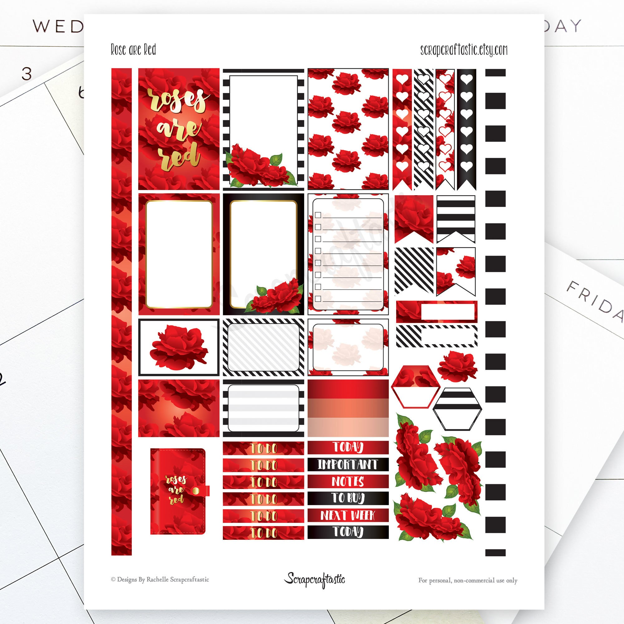 Roses are Red Printable Planner Stickers fit the Mambi Happy Planner 00019