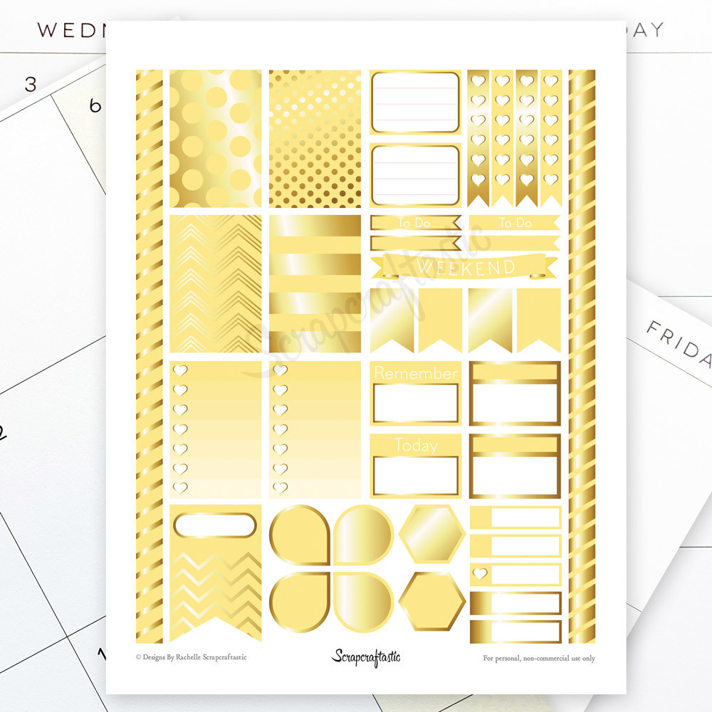 Banana & Gold Printable Planner Stickers for the Classic MAMBI Happy Planner 00163