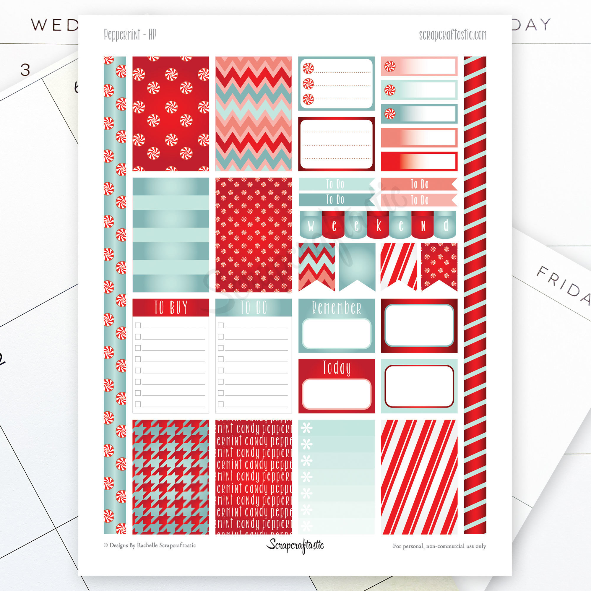 Peppermint Printable Planner Stickers for MAMBI Happy Planner dbr_peppermint