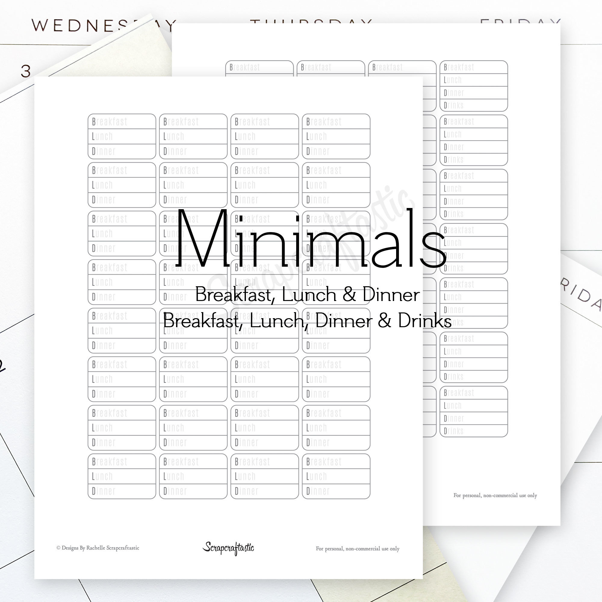 Breakfast, Lunch, Dinner (BLD) and Breakfast, Lunch, Dinner, Drinks (BLDD) Minimals Printable Planner Stickers for MAMBI Happy Planner 00145