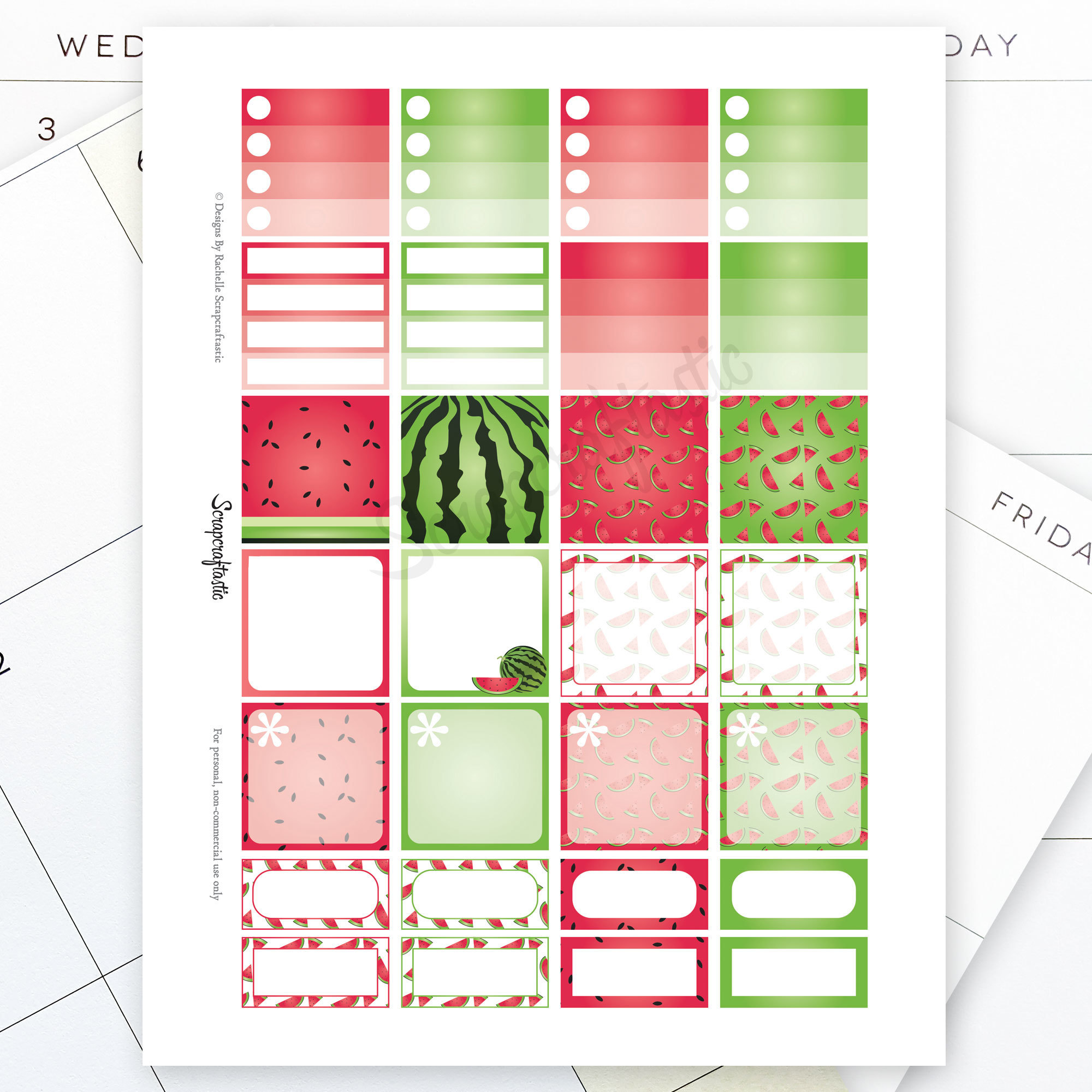 Watermelon Monthly Layout Printable Planner Stickers for the MAMBI Happy Planner 00191