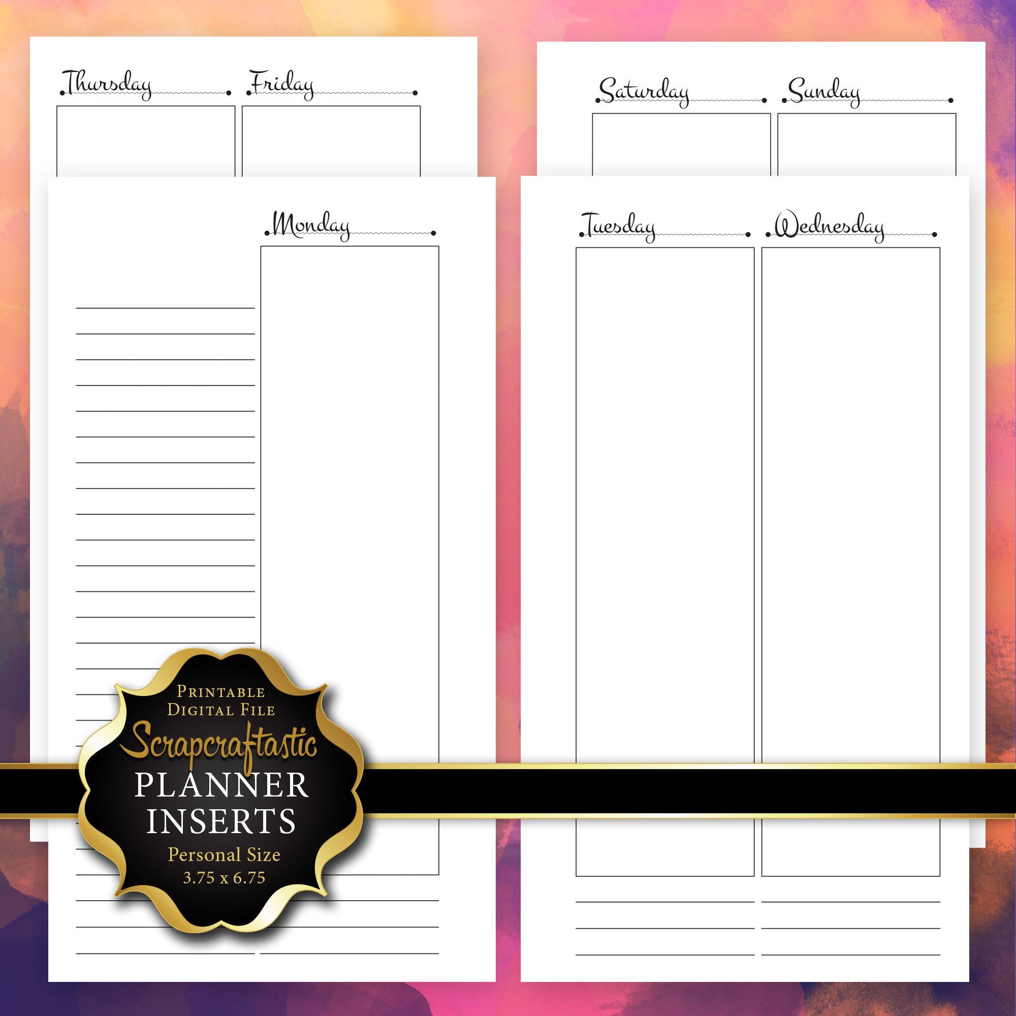Planner Printable Insert Refill Undated WO4P Personal Size- Filofax Kikki K ColorCrush Erin Condren width columns 00211